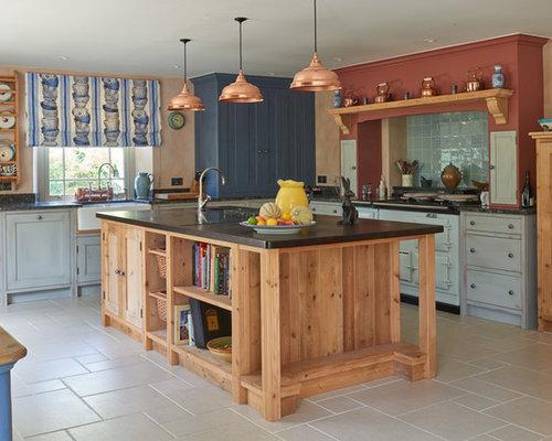828 Farmhouse Kitchen With Blue Cabinets Design Ideas