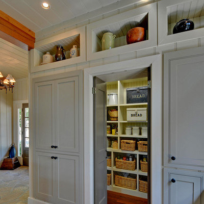 Kitchen - traditional kitchen idea in Atlanta with beaded inset cabinets and gray cabinets