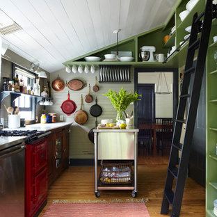 Design ideas for a country separate kitchen in Austin with open cabinets, green cabinets and coloured appliances.