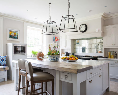 Delicieux Inspiration For A Rural L Shaped Kitchen In Belfast With Shaker Cabinets,  Beige Cabinets