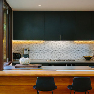 Mid Sized Contemporary U Shaped Open Plan Kitchen In Sydney With An Integrated Sink