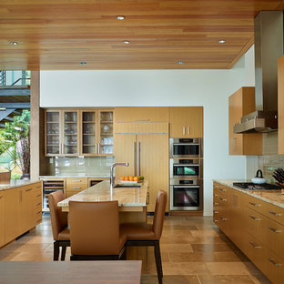 Contemporary kitchen appliance - Inspiration for a contemporary kitchen remodel in Seattle with flat-panel cabinets, granite countertops and paneled appliances