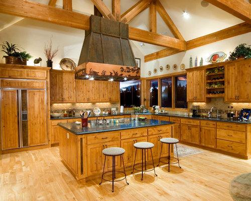 Best Rustic Open Concept Kitchen Design Ideas & Remodel Pictures | Houzz