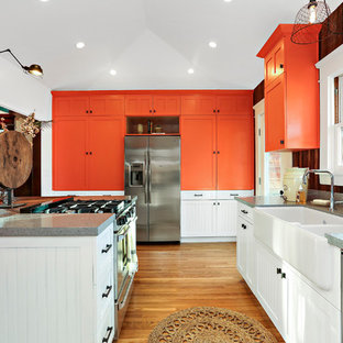 75 Beautiful Kitchen With Orange Cabinets Pictures Ideas February 2021 Houzz