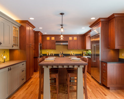 brown kitchen cabinets detroit kitchen with yellow splashback design ideas 1832