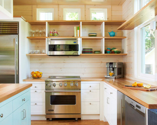 Elegant Kitchen Photo In Minneapolis With Wood Countertops Open Cabinets Stainless Steel Liances And