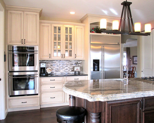 Painted And Glazed Cabinets And Stained Island Kitchen