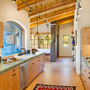 Southwestern kitchen ideas - Inspiration for a southwestern galley kitchen remodel in Denver with a drop-in sink, flat-panel cabinets, light wood cabinets and green countertops