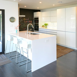 Design ideas for a mid-sized midcentury galley separate kitchen in Austin with an undermount sink, flat-panel cabinets, white cabinets, quartz benchtops, white splashback, stainless steel appliances, carpet and no island.