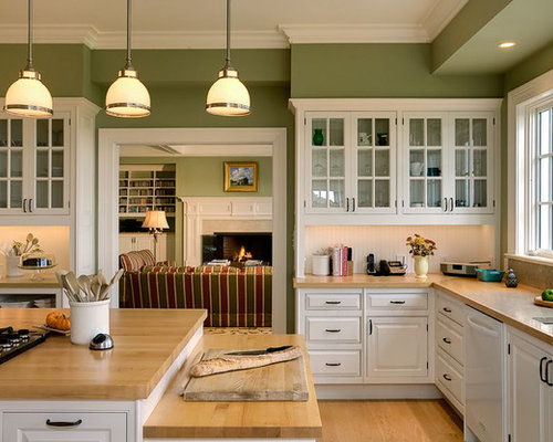 Modren Kitchens With White Cabinets And Green Walls Throughout Ideas