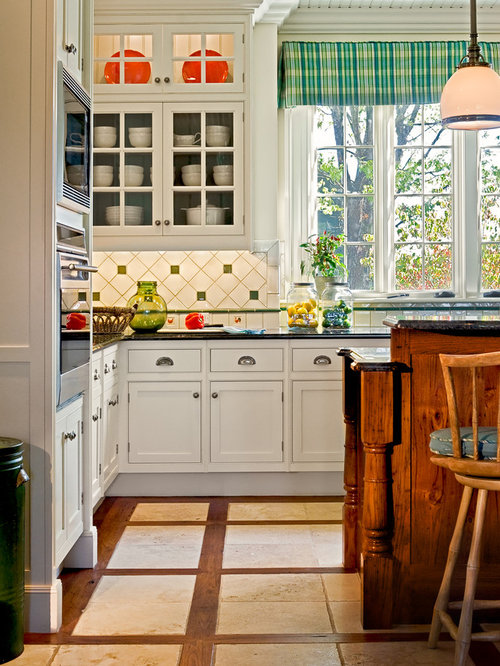 Country Kitchen Cabinets. Inspiration for a timeless multicolored floor eat in kitchen remodel New  York with recessed Country Kitchen Cabinets Houzz