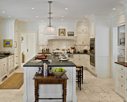 Travertine Flooring With White Cabinets Home Design Ideas, Pictures ...