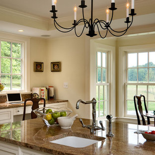 Inspiration For A Timeless Eat In Kitchen Remodel In New York With An  Undermount Sink