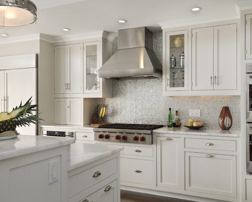 Superb Farmhouse Eat In Kitchen Idea In New York With Mosaic Tile Backsplash,  Stainless Steel