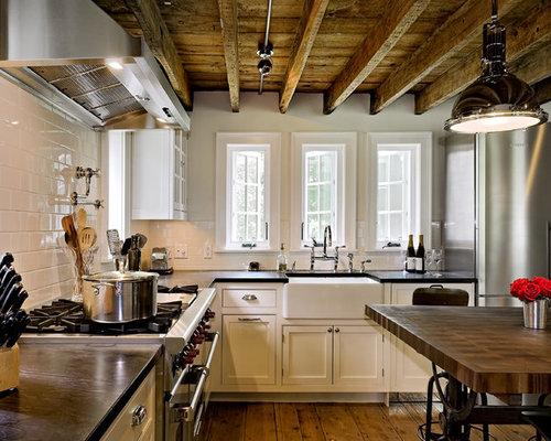 farmhouse kitchen designs example of a country l shaped kitchen design in new york - Beaded Inset Kitchen Decor