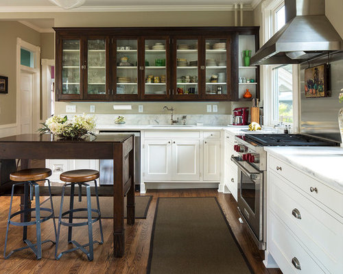 Dark Lower Cabinets Cream Upper | Houzz