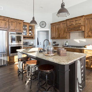 Traditional Kitchen Pictures L Shaped Dark Wood Floor And Brown