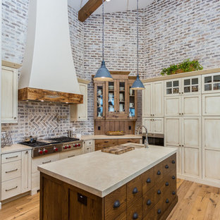 Exceptionnel Large Farmhouse Kitchen Inspiration   Inspiration For A Large Farmhouse  Medium Tone Wood Floor Kitchen Remodel