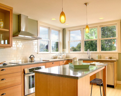White Ceramic Tile | Houzz on Light Maple Cabinets With White Countertops  id=16230