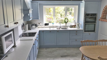 Crown Imperial Midsomer Kitchen in Mid Blue with Minerva Ice Crystal worktops