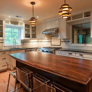 ワシントンD.C.の中サイズのエクレクティックスタイルのおしゃれなキッチン (アンダーカウンターシンク、落し込みパネル扉のキャビネット、白いキャビネット、ボーダータイルのキッチンパネル、シルバーの調理設備、無垢フローリング、大理石カウンター) の写真