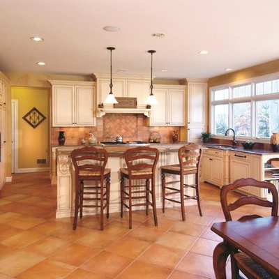 Kitchen - traditional kitchen idea in DC Metro with raised-panel cabinets, beige cabinets, beige backsplash and paneled appliances