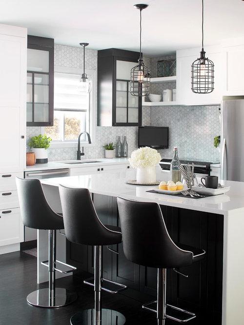 Cuisine contemporaine noire et blanche black and white for Cuisine contemporaine noire