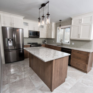 Inspiration for a mid-sized transitional l-shaped eat-in kitchen in Ottawa with a double-bowl sink, shaker cabinets, white cabinets, granite benchtops, beige splashback, porcelain splashback, stainless steel appliances, marble floors, with island and beige floor.