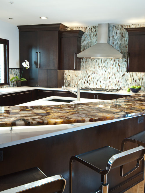 Trendy Kitchen Photo In Other With Flat Panel Cabinets, Dark Wood Cabinets  And Multicolored