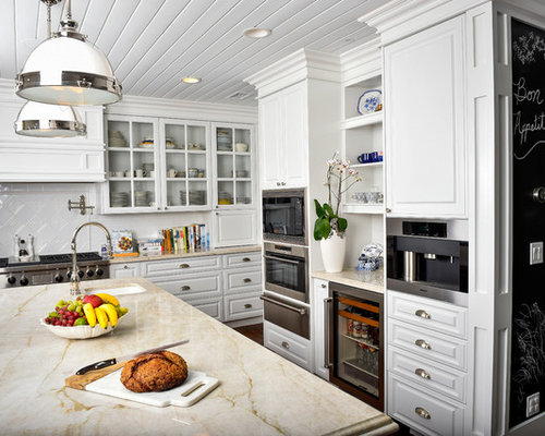 Large Elegant Dark Wood Floor Eat In Kitchen Photo In Los Angeles With  White Cabinets