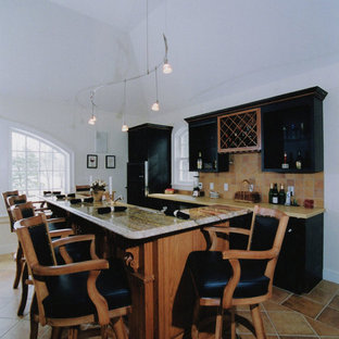 Inspiration for a large traditional galley eat-in kitchen in Boston with open cabinets, black cabinets, granite benchtops, beige splashback, terra-cotta splashback, black appliances, terra-cotta floors and with island.