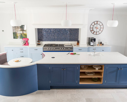 Cardiff Kitchen Design Ideas, Renovations & Photos with Blue Splashback