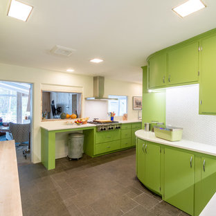 Design ideas for a large midcentury l-shaped separate kitchen in Milwaukee with an undermount sink, green cabinets, quartz benchtops, white splashback, porcelain splashback, white appliances, slate floors, no island, grey floor and yellow benchtop.