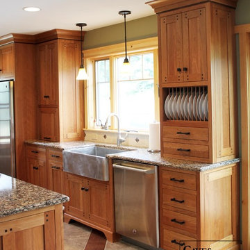 Custom Arts & Crafts Kitchen with Two Tiered Island