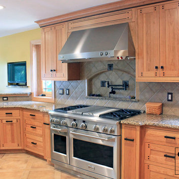 Custom Arts & Crafts Kitchen with Two Tiered Peninsula