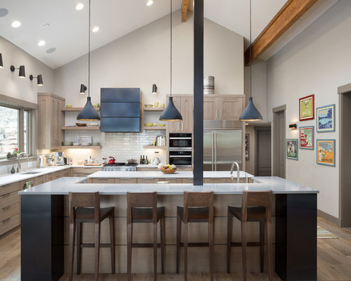 Large transitional kitchen designs   Example of a large transitional  l shaped light wood floorQuartz Countertop Ideas  Pictures   Designs. Quartz Countertops For White Cabinets. Home Design Ideas
