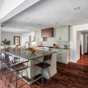 Custom Color Kitchen with Walnut Hood