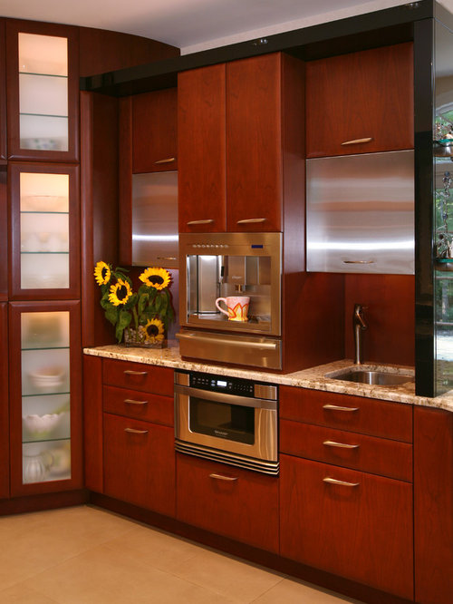 Inspiration for a contemporary kitchen remodel in Newark with flat-panel  cabinets