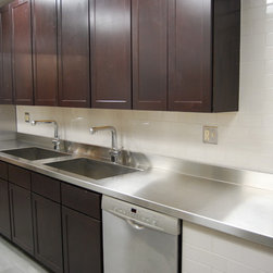 Custom Countertops - Stainless Steel top with integrated sinks
