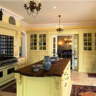 ブリッジポートのトラディショナルスタイルのおしゃれな独立型キッチン (黄色いキャビネット、木材カウンター、カラー調理設備、レイズドパネル扉のキャビネット、マルチカラーのキッチンパネル) の写真