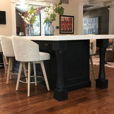 Inspiration for a huge timeless l-shaped medium tone wood floor, brown floor and coffered ceiling eat-in kitchen remodel in San Francisco with a double-bowl sink, beaded inset cabinets, white cabinets, quartz countertops, white backsplash, marble backsplash, white appliances, two islands and white countertops