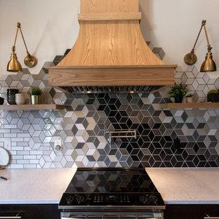 ミネアポリスの中くらいのエクレクティックスタイルのおしゃれなキッチン (アンダーカウンターシンク、シェーカースタイル扉のキャビネット、黒いキャビネット、珪岩カウンター、マルチカラーのキッチンパネル、セラミックタイルのキッチンパネル、シルバーの調理設備、淡色無垢フローリング、マルチカラーの床、白いキッチンカウンター) の写真