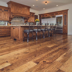 """Custom Hand-Scraped Hickory Floor in Cupertino - Dennis Mayer photographed our 7"""" wide plank Hickory floor in Cupertino, California. A custom finish was applied including hand scraping and distressing. This is an incredibly durable UV applied finish."""
