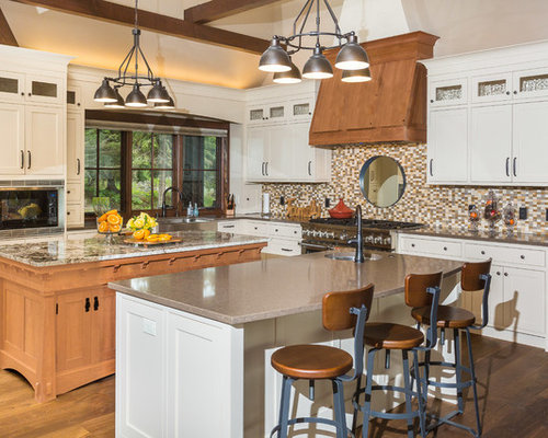 Large Rustic Kitchen Designs   Large Mountain Style L Shaped Medium Tone  Wood Floor And