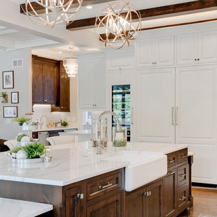 Traditional Open Concept Kitchen Designs   Inspiration For A Timeless  Medium Tone Wood Floor And Brown