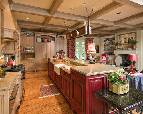 Red Distressed Cabinets Ideas, Pictures, Remodel and Decor