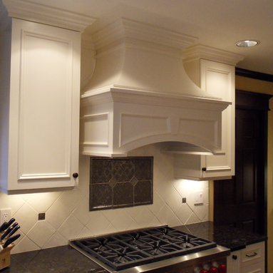 white painted maple wood cabinets espresso island