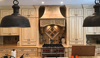 Custom Installation of Travertine Wall Hood & Wolf Range