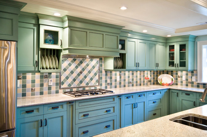 Eclectic Kitchen by Hostetler Custom Cabinetry