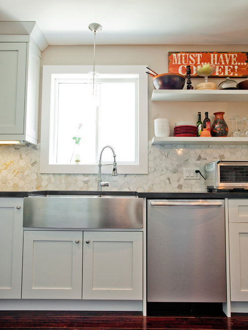 inspiration for an eclectic kitchen remodel in toronto with a farmhouse sink - Kraus Sinks